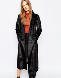 Urbancode Faux Pony Skin Coat With Detachable Sleeve Black