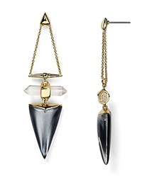 Alexis Bittar Lucite Dangling Post Drop Earrings Cool Gray Clear
