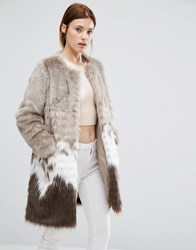 Urbancode Coat In Mix Match Faux Fur Beige