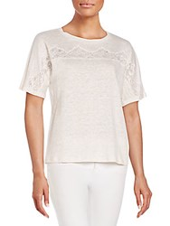 Rebecca Taylor Lace Inset Linen Tee Plush Pink