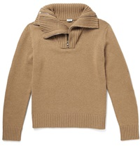 Loewe Multi Zip Funnel Neck Knitted Camel Sweater Brown