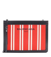 Balenciaga Canvas And Leather Shoulder Bag Red