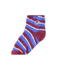 For Bare Feet Colorado Avalanche Sleep Soft Candy Striped Socks Maroon Blue