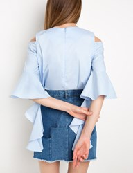Pixie Market Blue Ruffled Cascade Sleeve Top