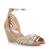 Head Over Heels Kruiz Multi Strap Peep Toe Wedge Sandals Gold