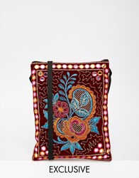 Reclaimed Vintage Floral Embroidered Mini Cross Body Bag Red