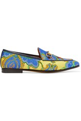 Gucci Jordaan Horsebit Detailed Jacquard Loafers Blue