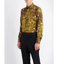 Duchamp Floral Print Tailored Fit Silk Shirt Yellow