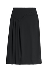 Agnona Asymmetric Pleat Wool Midi Skirt Black