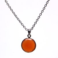 Puck Wanderlust Silver July Birthday Charm Necklace Carnelian Silver Yellow Orange