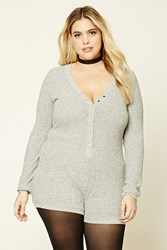 Forever 21 Plus Size Marled Knit Romper Heather Grey