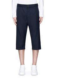 Comme Des Garcons Cropped Wool Twill Pants Blue