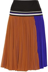 Bouchra Jarrar Pleated Silk Georgette Skirt Brown