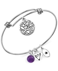 Unwritten Sisters Charm And Amethyst 8Mm Bangle Bracelet In Stainless Steel