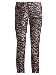 Haider Ackermann Madame Skinny Leg Jacquard And Leather Trousers Pink Multi
