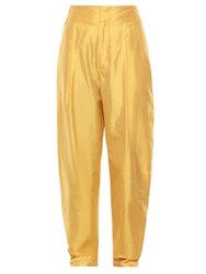 Isabel Marant Kyler High Rise Silk Trousers Yellow