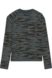 Theory Skinie Camouflage Print Stretch Jersey Top Blue