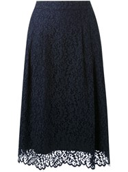 Muveil Lace Midi Skirt Blue