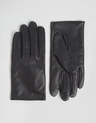 Asos Leather Plain Gloves With Touch Screen Black