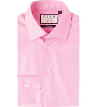 Thomas Pink Anders Checked Slim Fit Cotton Shirt Pink White