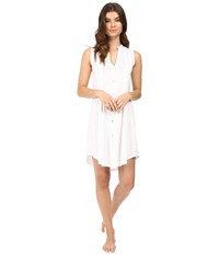 Hanro Cotton Deluxe Button Front Tank Nightgown White Women's Pajama