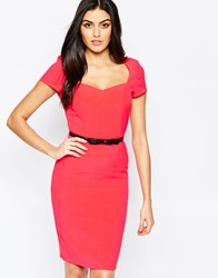 Paper Dolls Belted Pencil Dress Red