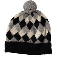 Lowie Virgin Wool Patchwork Beanie In Black Grey And Oatmeal
