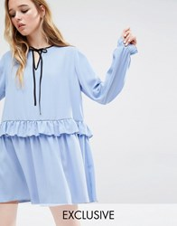Reclaimed Vintage Ruffle Hem Smock Dress Blue