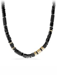 David Yurman Nevelson Bead Necklace With Black Onyx In 18K Gold Black Gold