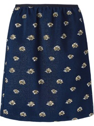 Odeeh Contrasting Jacquard Effect Skirt Blue