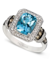 Le Vian Aquamarine 1 1 2 Ct.T.W. White And Chocolate Diamond 3 8 Ct.T.W. Ring In 14K White Gold