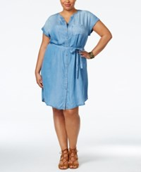Styleandco. Style And Co. Plus Size Belted Denim Tunic Dress Only At Macy's Sun Wash