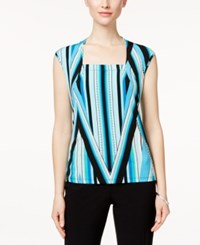 Kasper Printed Square Neck Top Cabana Blue