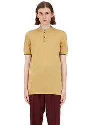Lanvin Short Stand Collared Polo Shirt Yellow
