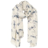 Fat Face Dragonfly Print Scarf Cream Blue