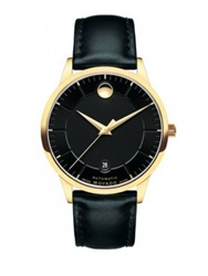 Movado 1881 Automatic Goldtone Stainless Steel And Leather Strap Watch Black Gold
