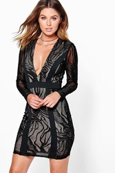 Boohoo Aly Lace Panelled Bodycon Dress Black
