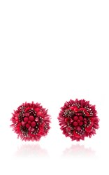 Ranjana Khan Red Pom Pom Flower Earrings