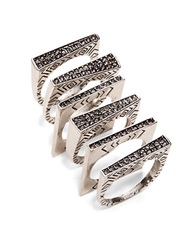 House Of Harlow Engraved Ring Stack Silver