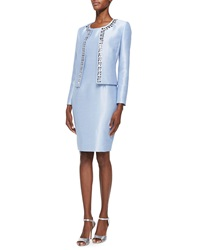 Albert Nipon Sleeveless Sheath Dress And Jeweled Jacket Set