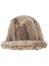 Co Mink Fur Hat Brown