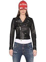 Dsquared Lambskin Leather Biker Jacket