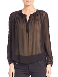 Rebecca Taylor Sheer Lace Detail Silk Blouse Black