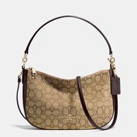 Coach Chelsea Crossbody In Signature Jacquard Light Gold Khaki Brown