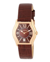 Escada Grace Watch With Croc Embossed Leather Strap Brown