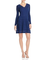 M Missoni Long Sleeve Fit And Flare Dress Blue