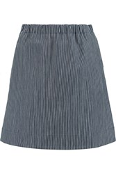 Marni Striped Cotton Twill Mini Skirt Blue