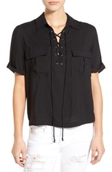 Sun And Shadow Women's Lace Up Shirt Black