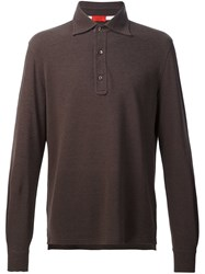 Isaia Long Sleeve Polo Shirt Brown