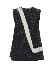Preen Line Nel Daisy Print Sleeveless Top Black
